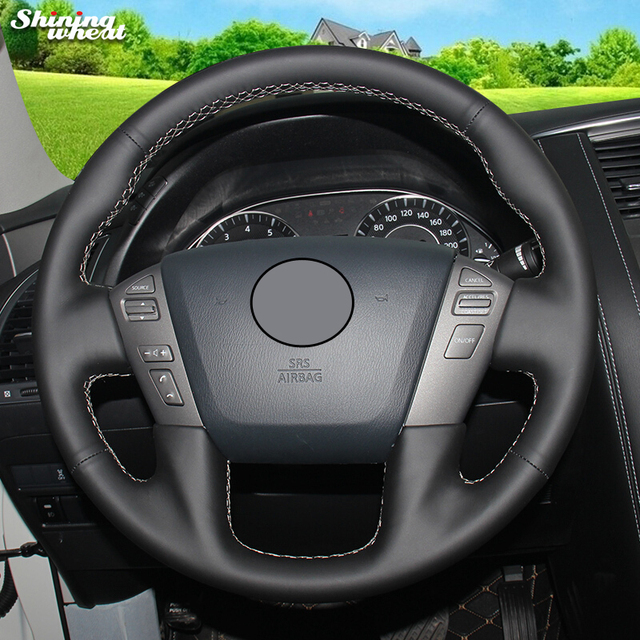 Shining Wheat Genuine Leather Steering Wheel Cover For Nissan Patrol 2017 Infiniti Qx56 Qx80