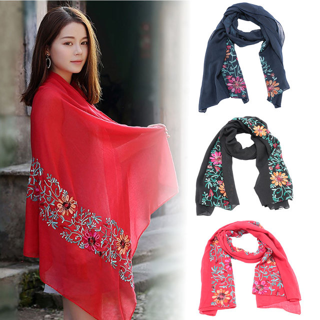 6e5987cdd0b 2018 Plain Embroidered Floral Viscose Scarf Shawl From Indian Bandana Print  Cotton Scarves and Wraps Hot Sale Satin Scarf