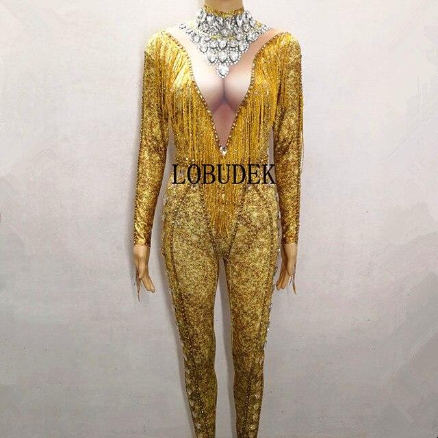 2019 Gold Tassels Rhinestones Jumpsuit Women Sexy Nightclub Clothing Bar Singer Host Performance Stage Wear Birthday Show Outfit