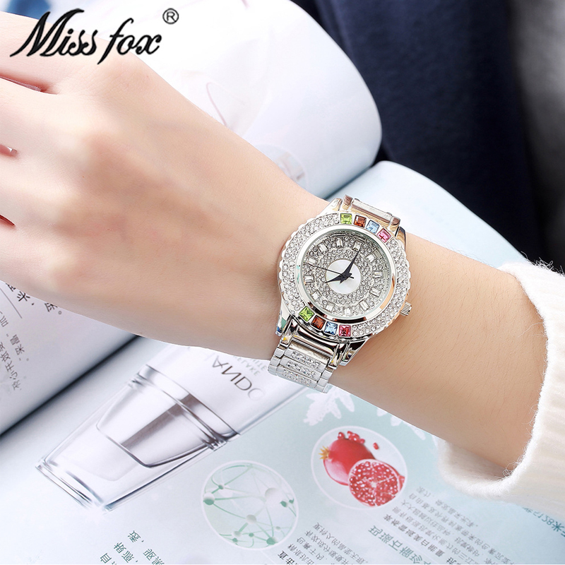 Señorita zorro relojes femeninos reloj de cuarzo de lujo tachonado - Relojes para mujeres