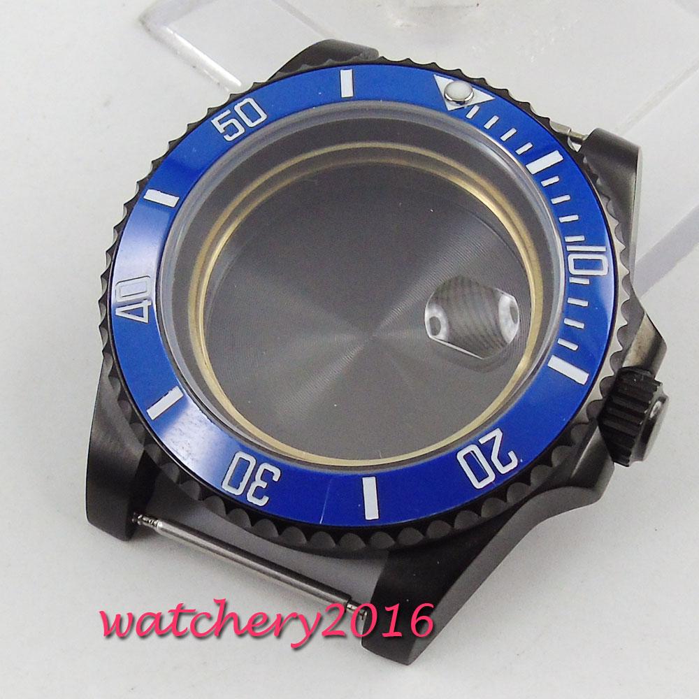 все цены на 40mm PARNIS pvd case sapphire crystal Rotating Bezel fit eta 2824 2836 movement Watch Case онлайн