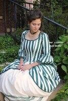 CUSTOM MADE Зеленый Рококо Колониальной Чай Полосатый Платье НА ЗАКАЗ/Платье Партии