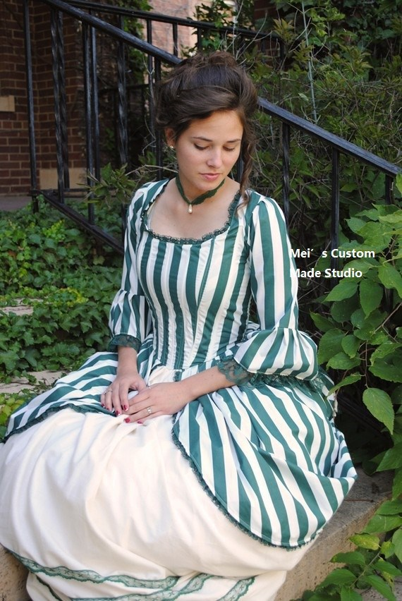 CUSTOM MADE Green Rococo Colonial Tea Striped Gown Dress CUSTOM /Party Dress
