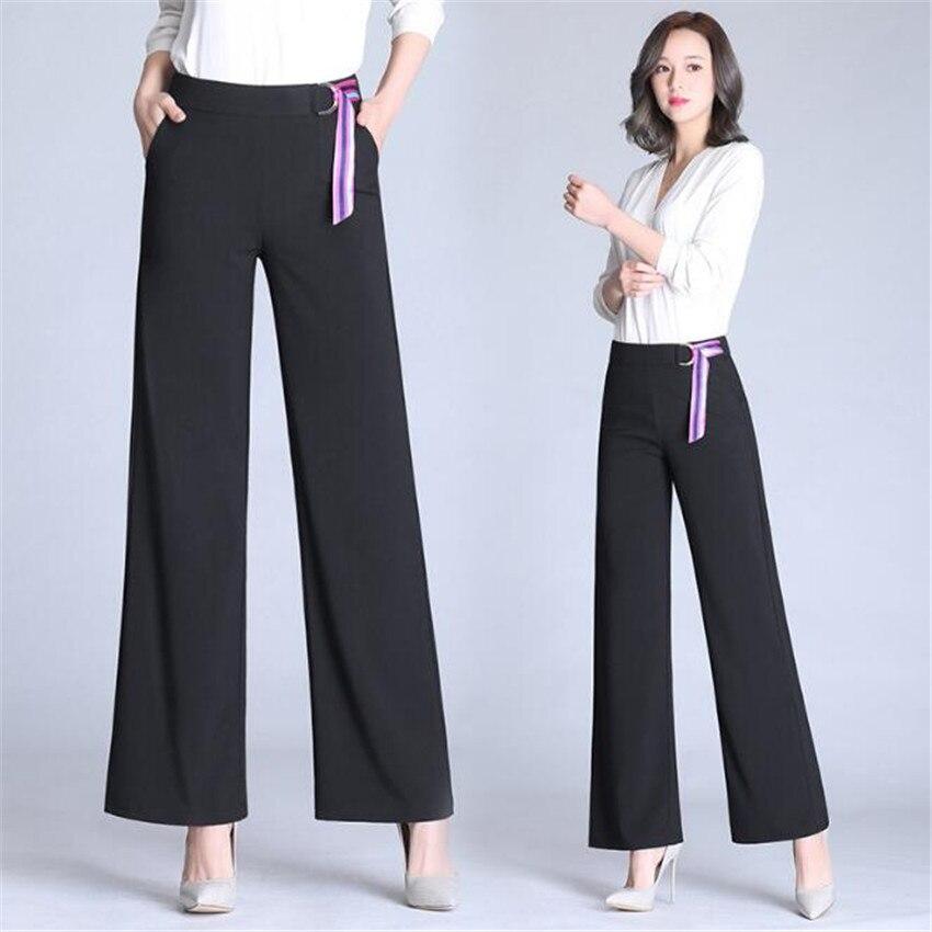 KMUYSL 2018 Summer Elastic force Loose waist Broad leg Straight trousers