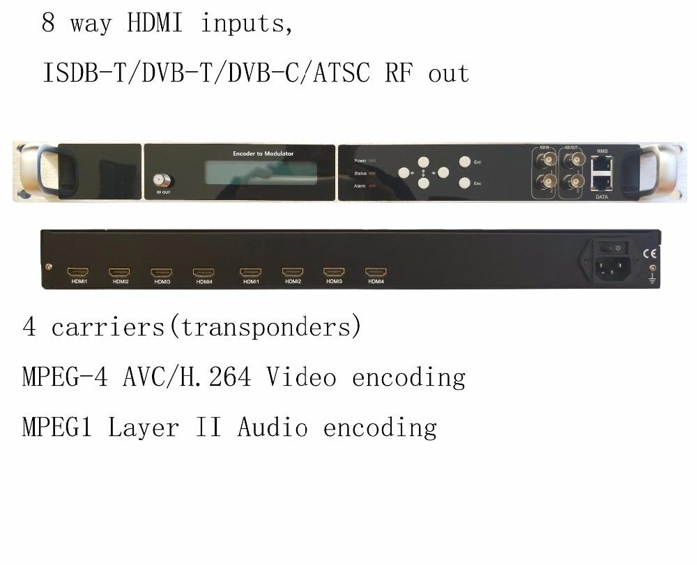 4 carriers 1080P multi HDMI to DVB-C/DVB-T/ATSC/ISDB-T encoder modulator Digital TV Headend QAM RF Modulator VEK-4782I-8/12 цены