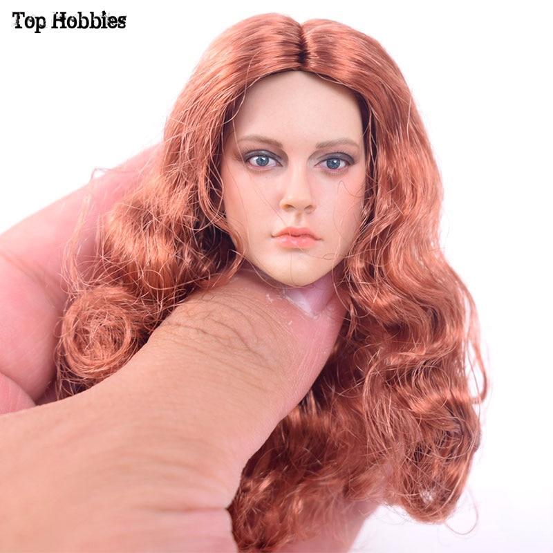 DSTOYS 1/6 Scale Female Head Sculpt Model D-005 Long Hair Female Carving for 12