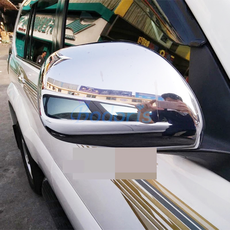 For <font><b>Toyota</b></font> Land Cruiser 120 Prado <font><b>FJ120</b></font> 2003-2009 Side Wing Mirror Cover Door Rear View Overlay Chrome Car Styling Accessories image