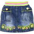 Girl's Floral embroidery letter pattern mini denim jeans Skirts with colorful elastic waistband pockets button XML-55020