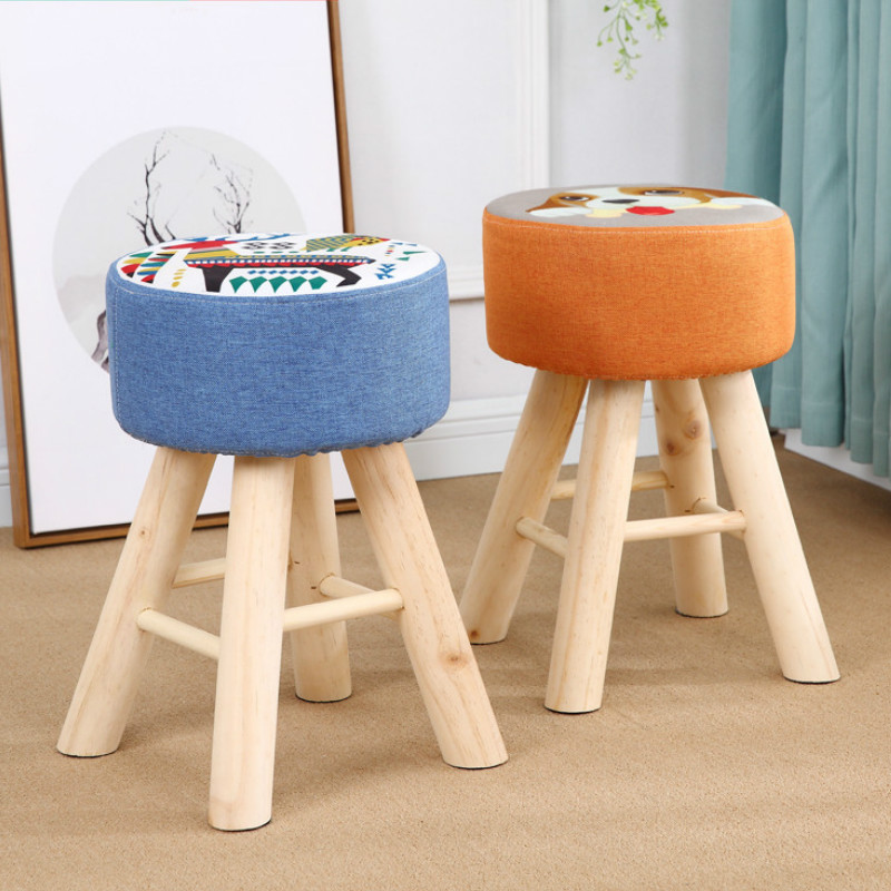 Household Simple Modern Sofa Stool Fashionable Make-up Chair Creative Bench Living Room Solid Wood Change-over Kids Furniture