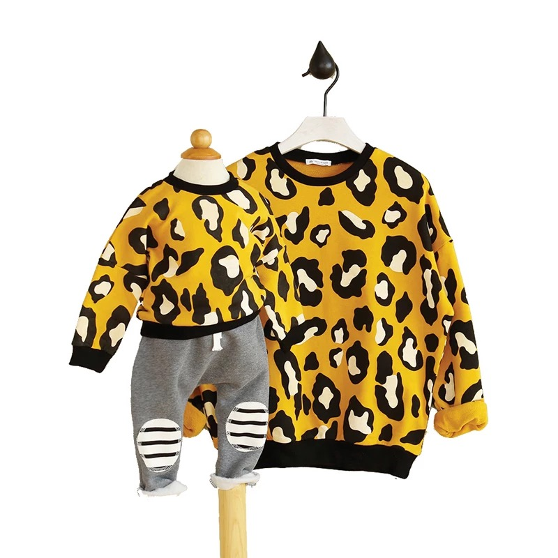 New spring autumn Leopard sweater Family Look Matching Mother Daughter Girl Clothes Outfits Mom And Daughter family clothing