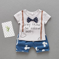 Summer Style Gentleman Baby Boy Clothes T Shirts Cowboy Shorts Cool Suit Newborn Infant Baby Boys