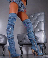 Стильные синие сапоги до бедра на шпильках с кисточками, джинсовые сексуальные женские ковбойские ботфорты на каблуке 10 см, размер 35 42
