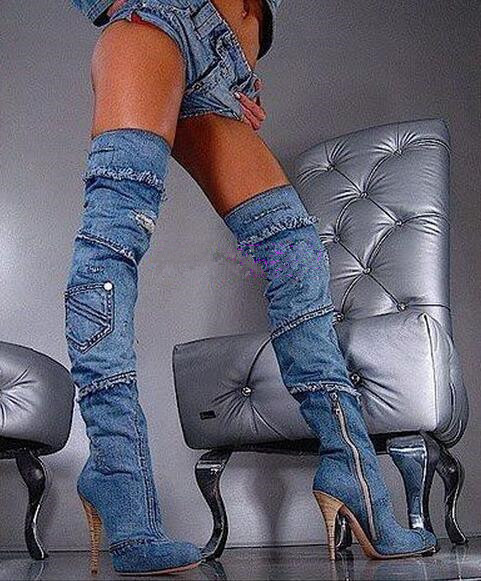 Stylish blue color tassels stiletto heels thigh high boots denim sexy women cowgirls 10CM heels over the knee boots size 35-42