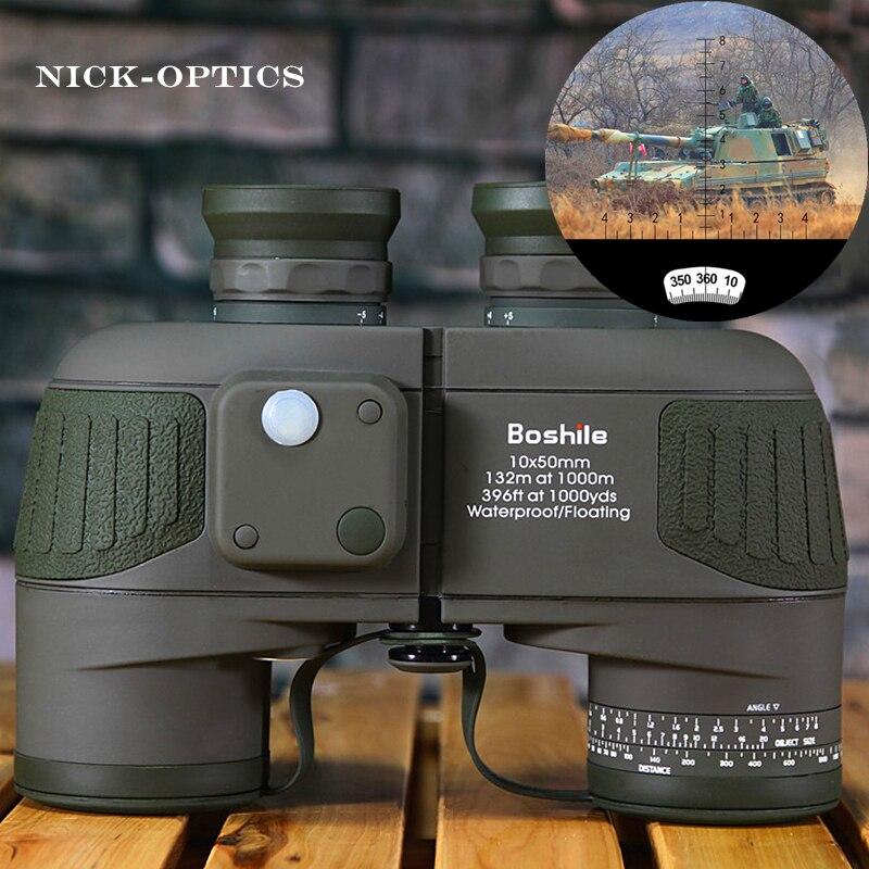 Boshile binoculaire Militaire 10x50 professionnel Marine jumelles Numérique Étanche Boussole télescope haute puissance lll nuit vision