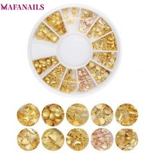 1 Wheel Gold Rivet Nail Studs 3D Art Rose Star Round Triangle Mixed Accessories for DIY Manicure Jewelry DZP93