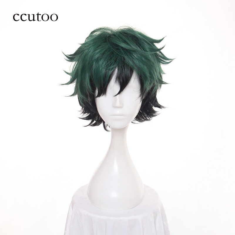 ccutoo 30cm Green Black Ombre Mix Short Fluffy Layered Synthetic Cosplay Wigs My Hero Boku no Hero Academia Izuku Midoriya