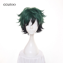 ccutoo 30cm Green Black Ombre Mix Short Fluffy Layered Synthetic Cosplay Wigs Heat Resistance Party Wigs