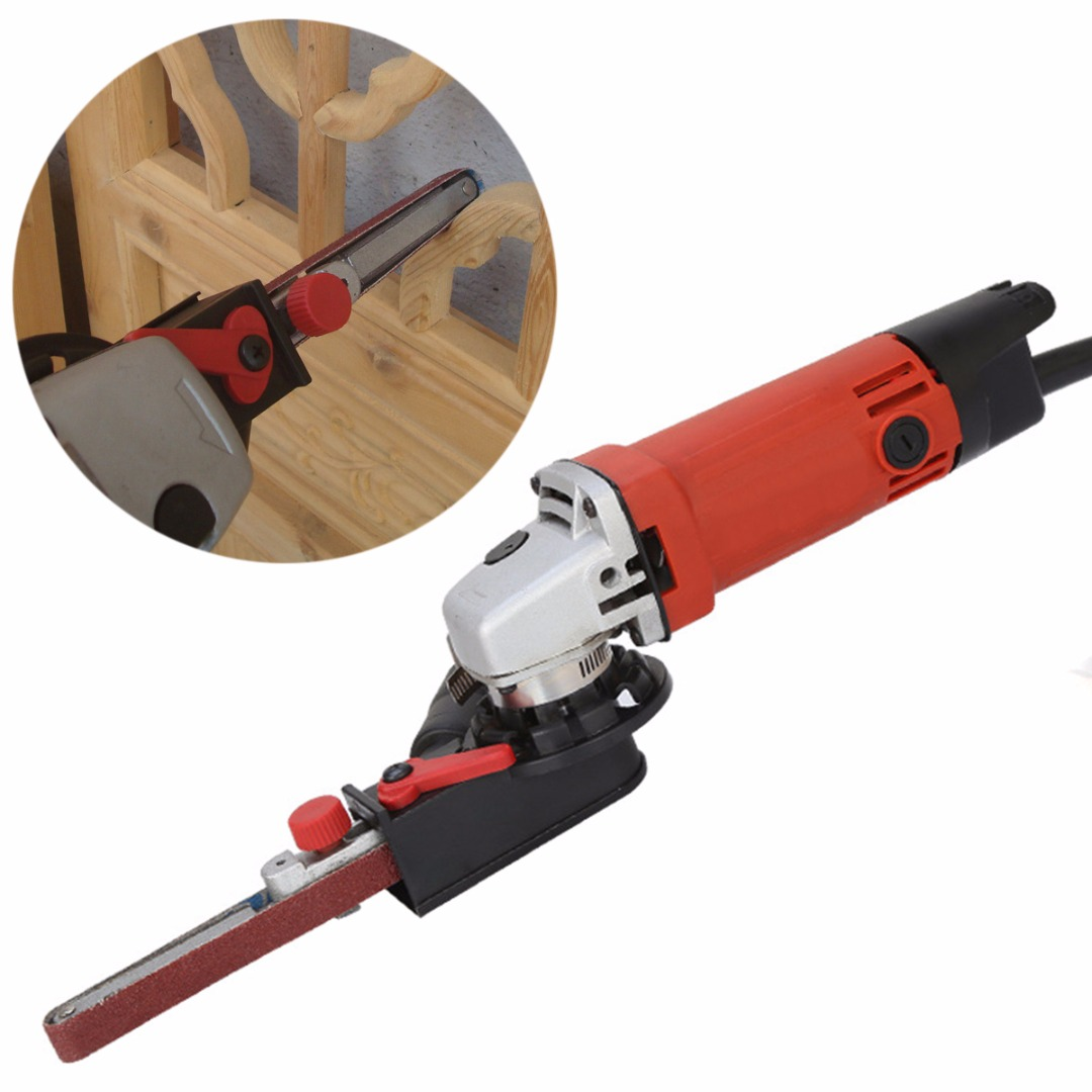 New 1 Set Sander Sanding Belt Adapter Head Convert With M10 Thread Spindle For 4 inch Electric Angle Grinder Woodworking Tool sander machine sanding belt adapter head convert m10 with sanding belts for 4 electric angle grinder mayitr woodworking tools