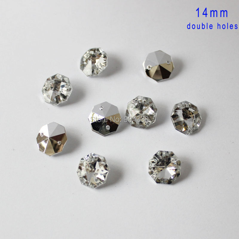 Free Shipping 200pcs Clear 12mm Octangle Double Holes Pointed Back Acrylic Diamond Apparel Sewing Buttons Crafts Diy Rhinestone Arts,crafts & Sewing