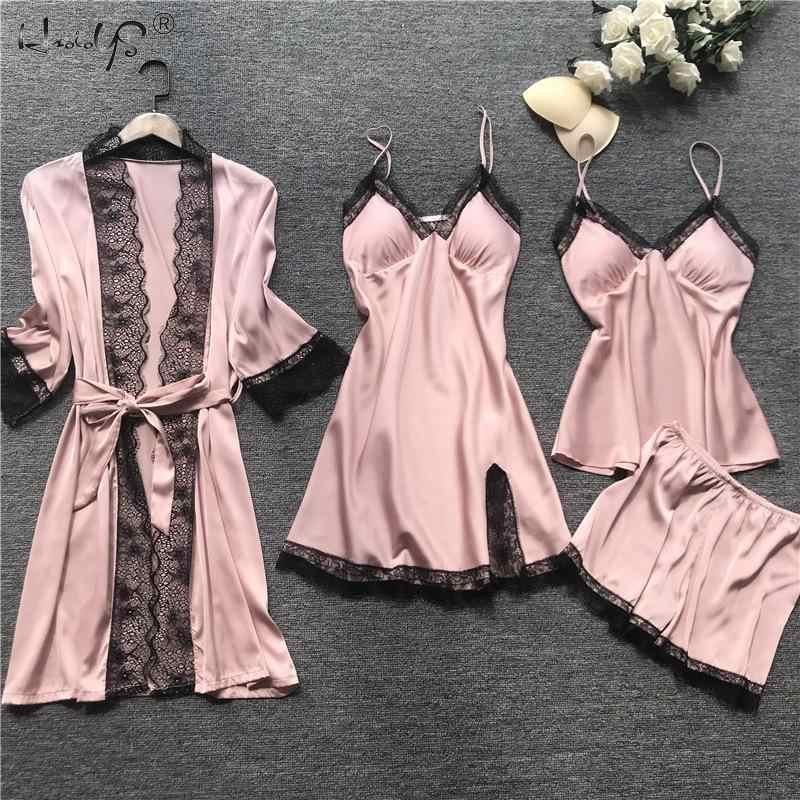 Kadın seksi elbise elbisesi setleri dantel bornoz + gece elbisesi 4 dört adet pijama bayan uyku seti sahte ipek robe Femme iç çamaşırı