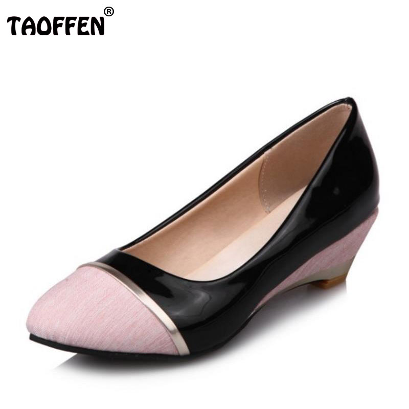 TAOFFEN Plus Size 29-52 Women High Heels Pumps Lady Poined Toe Square Heel Shoes Casual Slip On Fashion Shoes Soft Footwears цена