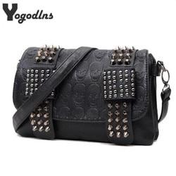 2021 new fashion Women Black Leather Messenger Bags Fashion Vintage Messenger Cool Skull Rivets Shoulder Bags sac a main bolsa