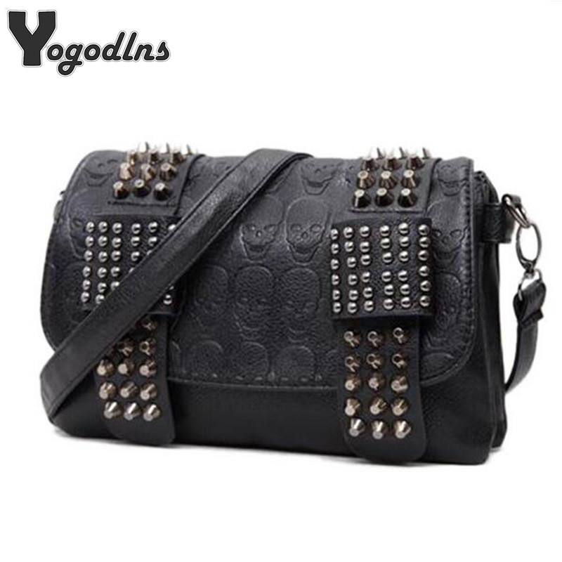 2019 New Fashion Women Black Leather Messenger Bags Fashion Vintage Messenger Cool Skull Rivets Shoulder Bags Sac A Main Bolsa
