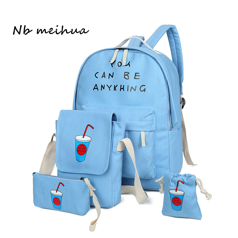 Backpack Female Fresh School Bag For Teenager Girls High Quality Cute Printing Canvas Backpacks Fashion Mochila With 4pcs/sets