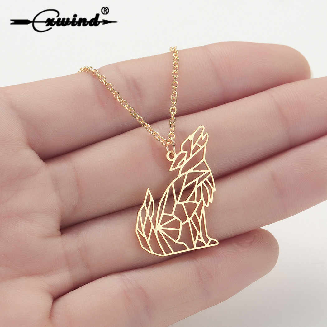 Cxwind Fashion Animal Necklace Wolf Necklace Pendant for Women Stainless Steel Jewelry Party Accessories collares de moda 2019