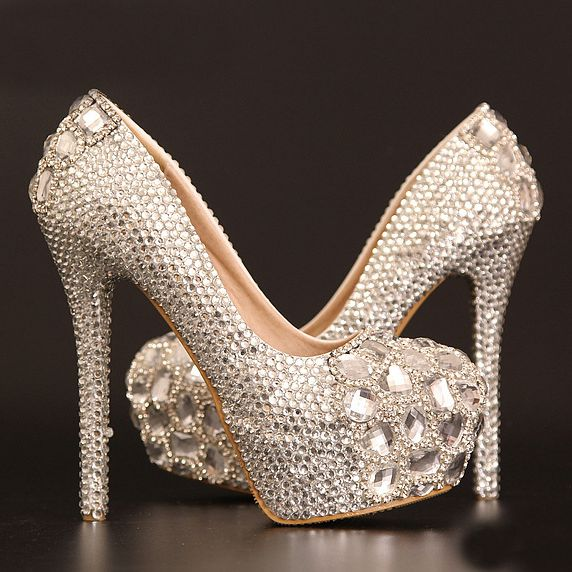 Popular Silver Crystal Heels-Buy Cheap Silver Crystal Heels lots ...