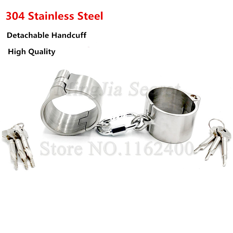 4cm High Detachable Stainless Steel Hand Cuffs Lockable Handcuffs Shackles Restraints Fetish Slave Bondage Sex Toys For Women