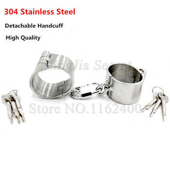 4cm High Detachable Stainless Steel Hand Cuffs Lockable Handcuffs Shackles Restraints Fetish Slave Bondage Sex Toys for Women - DISCOUNT ITEM  34% OFF All Category