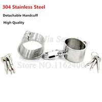 4cm High Detachable Stainless Steel Hand Cuffs Lockable Handcuffs Shackles Restraints Fetish Slave Bondage Sex Toys for Women