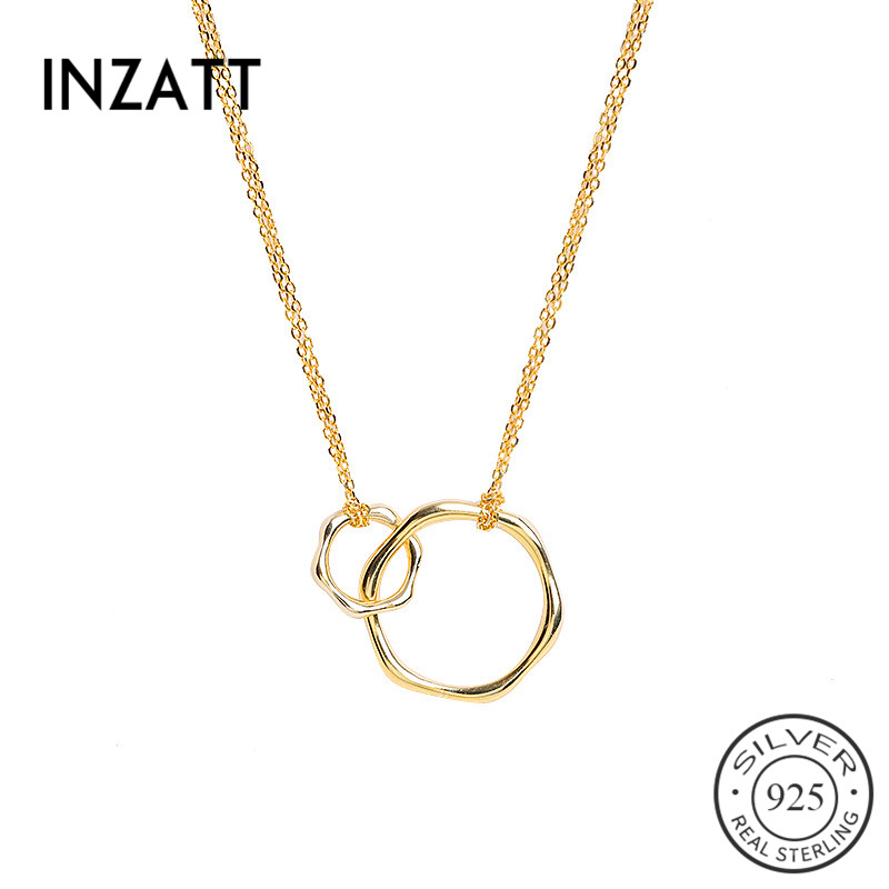 INZATT Real 925 Sterling Silver Geometric Hollow Double Circle Pendant Necklace For Fashion Women Party Minimalist Fine JewelryINZATT Real 925 Sterling Silver Geometric Hollow Double Circle Pendant Necklace For Fashion Women Party Minimalist Fine Jewelry