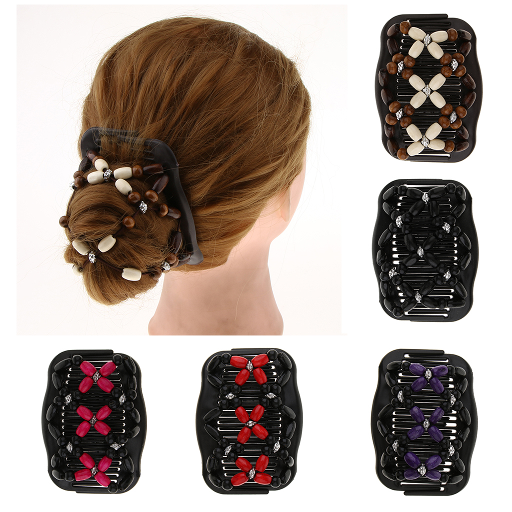 New Vintage Elastic Hairpin Stretch Hair Comb Flower Decor Beaded Magic Clip Beads Pin Ladies Styling Tool