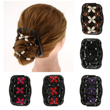 New Vintage Elastic Hairpin Stretch Hair Comb Flower Decor Beaded Hair Magic Comb Clip Beads Pin Ladies Hair Styling Tool magic hair comb beaded double stretch fashion elastic women clips diy hairstyle