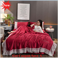 4pcs Lace Edge washed silk summer quilt sets cool summer duvet pillowcase bed sheet sets air conditioning quilt free shipping