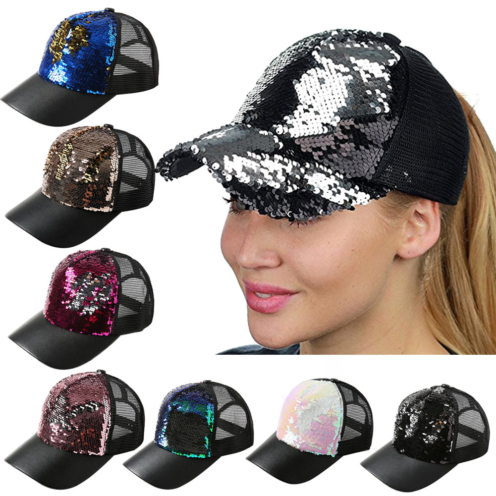 Summer Women Baseball Caps Sequins Mesh Cap Adjustable Sports Shinning Hats FS99