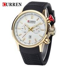 CURREN Marca Relojes de los Deportes de Los Hombres Relojes de pulsera de Silicona Reloj de Cuarzo Relojes de Pulsera Para hombres Relogio del reloj 50 M Impermeable Reloj