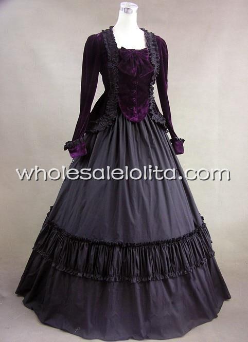 Černé viktoriánské velvet plesové šaty