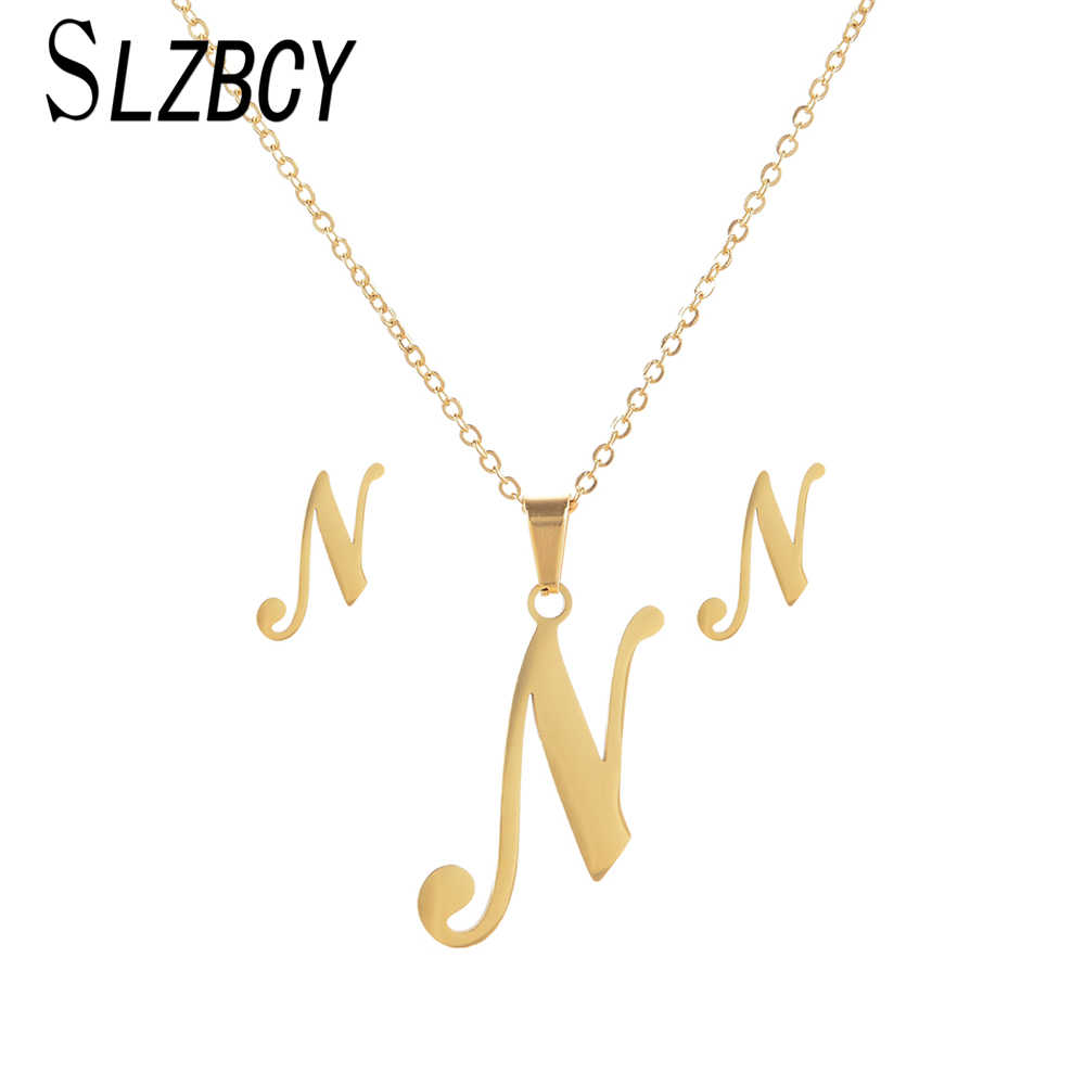 Stainless Steel 26 Letter Alphabet Jewelry Set Gold Musical Note Pendant  Necklace Earrings Sets For Women 4d8f7ec8933c