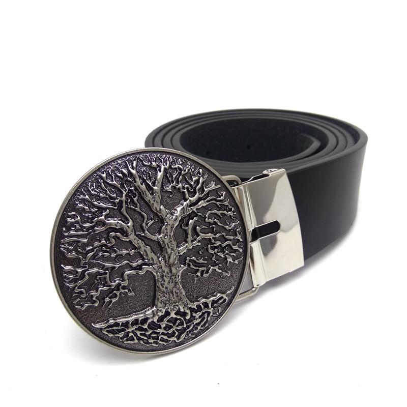 Fashion Men Belts for jeans with World Tree Cowboy Metal Belt Buckle Black PU Leather Belt Plus size 130cm