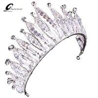 Tiara Couronne de La Reine De Cheveux De Mariage Accessoires En Cristal Tête Bande de Cheveux À La Main Bijoux Tête Décorations Femmes Casque Diadème