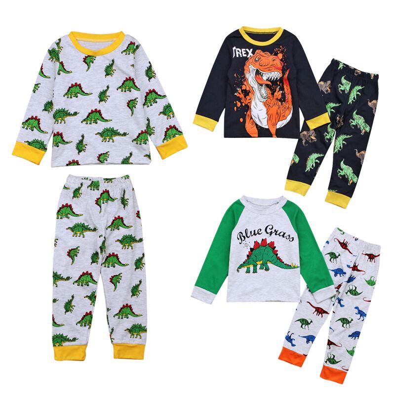 Kids Pyjamas Sets Jungen Dinosaurier Muster Nacht Anzug Kinder Cartoon Nachtwäsche Mädchen Pyjamas Kinder 100% Baumwolle Nachtwäsche Größe 2-7 T Modische Muster