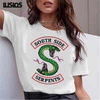 LUSLOS SOUTH SIDE SERPENTS T Hemd Frauen Sumemr Riverdale Plus Größe Oansatz T-shirt Schlange Drucken Homme Streetwear Kühlen T-shirts