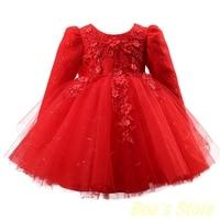 Girl Princess Dress Lace Flower bowknot Velvet Long Sleeves Vintage Warm Floral Summer Autumn Party Wedding Girls Dresses