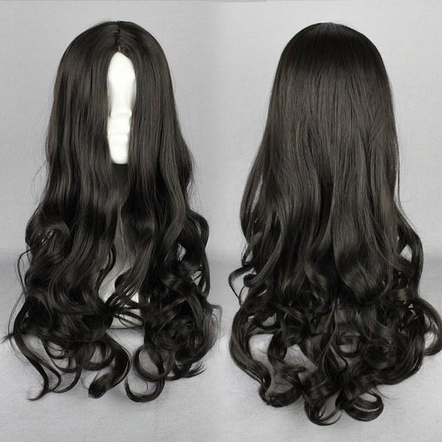 MCOSER Supremo Preto Com Zíper Design 50 CM Lolita Longo Ondulado Curly Cosplay Peruca Frete Grátis