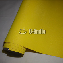 High Quality Yellow Glitter Sandy Sparkle Vinyl Film Roll Decal Bubble Free Phone Laptop Ipad Cover Size:1.52*30M