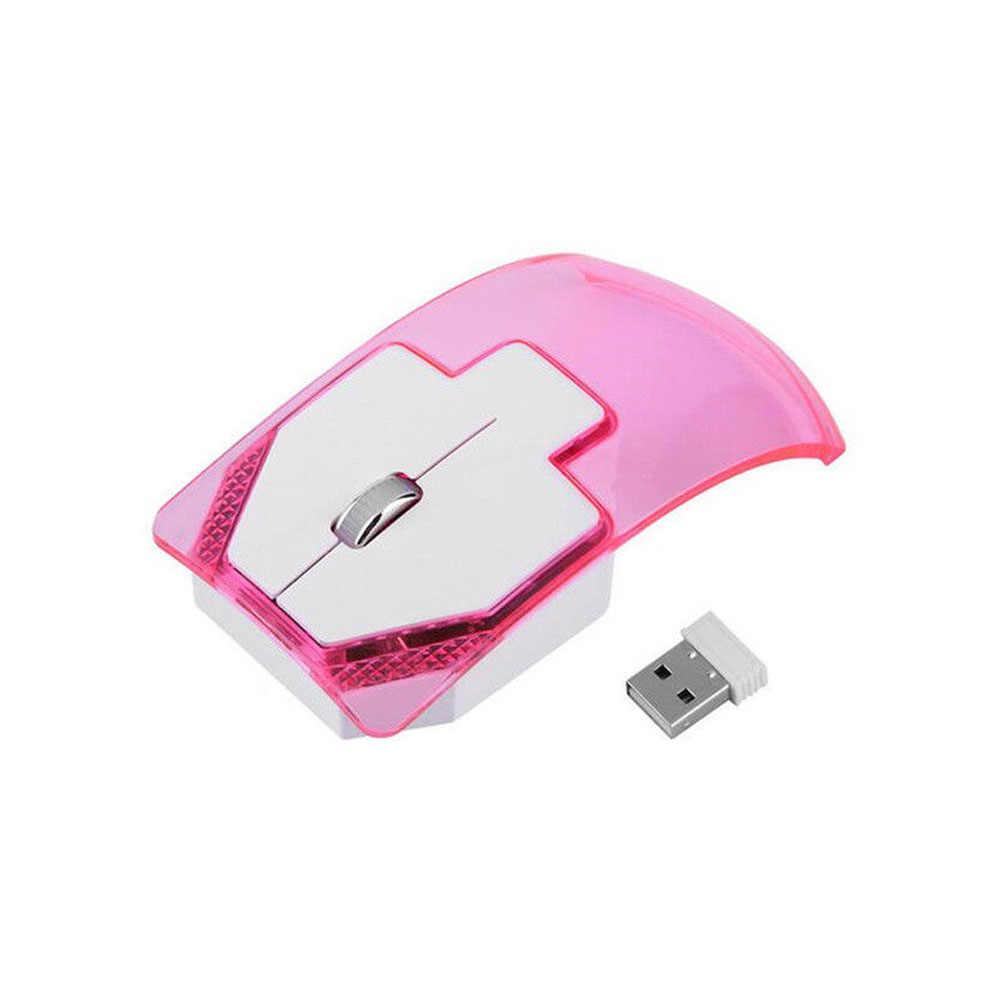 2.4GHz Wireless Mouse Transparent Ultra Thin Luminous Optical Mice for PC Laptop EM88 Transparent