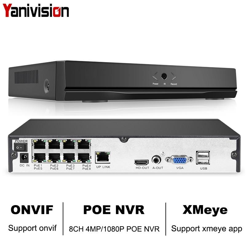 8ch 4mp 4ch 5mp 1080 p h.265 nvr completo hd 8 canais de segurança cctv nvr onvif p2p nuvem rede gravador de vídeo para o sistema de câmera ip